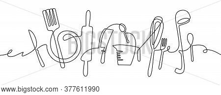 Kitchen Tools. Continuous One Line Drawing Kitchen Utensils, Cooking Tool Illustration, Black And Wh