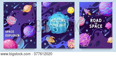 Fantasy Planets Kids Posters. Multicolor Cosmic Objects, Space Galaxy World Design For Flyer, Magazi