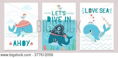 Whale Card. Cute Marine Animals Blue Whales, Happy Orca For Baby Shower Design, Childrens Clothes Pr
