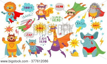 Superhero Animals. Cute Hero Animals With Capes And Playful Masks, Brave Funny Animal Comic Speech B