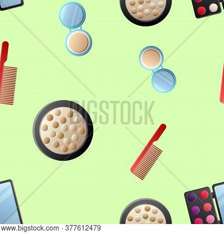 A Seamless Pattern Of Cosmetics With Lipstick, Nail Polish, Mascara, Hairbrush, Face Cream, Eye Shad