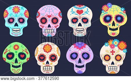 Dead Day Skulls. Dia De Los Muertos Decoration With Flowers And Skulls, Tattoo Floral Pattern, Tradi