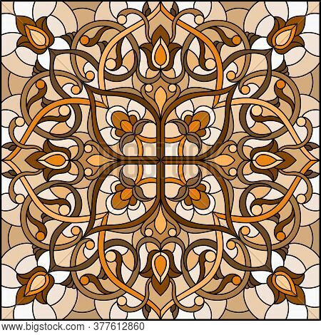 Illustration In Stained Glass Style With Abstract  Swirls And Leaves  On A Light Background,square O
