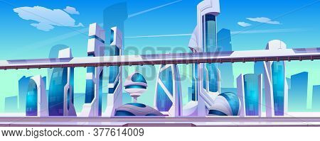 Future City Street With Futuristic Glass Buildings Of Unusual Shapes, Ground Subway On Blue Sky Back