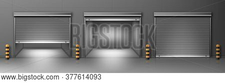 Gate With Metal Rolling Shutter In Gray Wall. Vector Realistic Illustration Of Hallway In Commercial