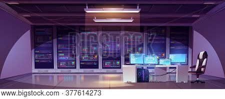 Data Center Room With Server Racks, Computer Monitors On Desk And Chair. Vector Cartoon Interior Of
