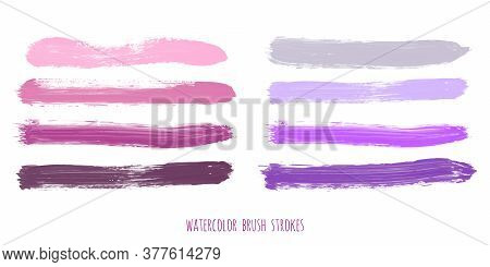 Set Of Purple, Pink, Lilac, Rose, Violet, Gray, Lavender Watercolor Hand Painted Stripes Isolated On
