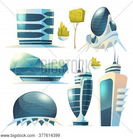 Future City, Futuristic Glass Buildings Of Unusual Shapes And Green Plants Isolated On White Backgro
