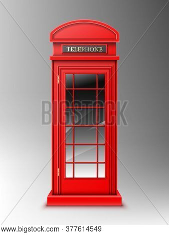 Vintage Red Telephone Booth, Classic London Retro Phone Box. Close Public English Cabin For Talks An