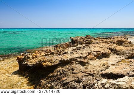 Mediterranean Coast With A Rocky Coast And Turquoise Water