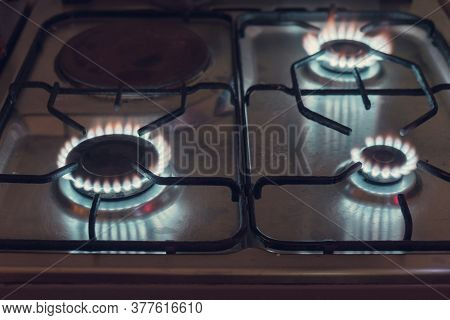 The Gas Is Burning, The Gas-stove Burner, The Hob In The Kitchen