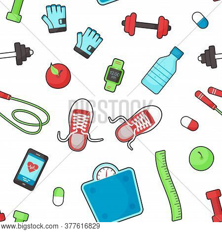 Fitness Equipments Seamless Pattern, Sport Accessories Background, Gym Things, Stufff For Training I