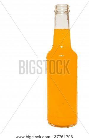 Glass Bottle Of Orange Soda Isolated On White