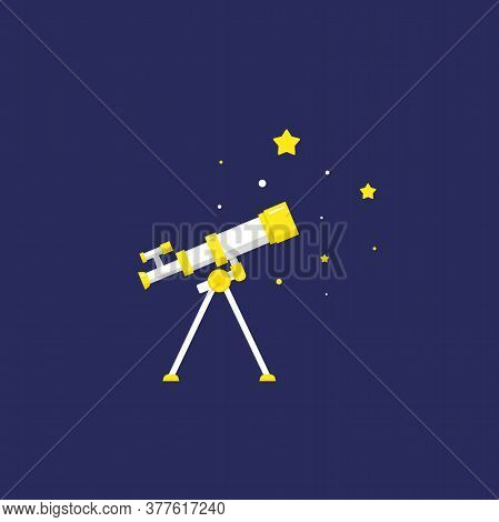 White Cartoon Telescope Searching For Stars Or Opportunities, Looking Into Space.