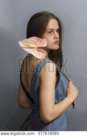 Sensual Portrait Of Long-haired Brunette Girl With Pink Anthurium Flower On Gray Background