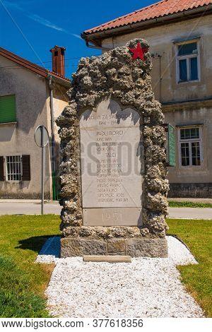 Razdrto, Slovenia - July 10 2020. A Commemorative Memorial Near The Village Of Razdrto In Primorska,