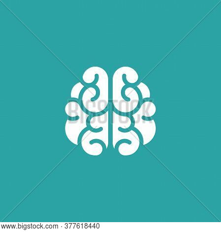 White Brain Icon. Intellect, Phsychology, Knowledge Simple Pictogram Isolated On Blue.