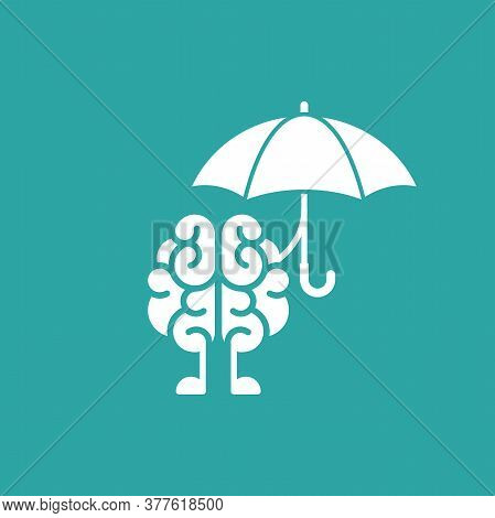 Brain Character With Umbrella Icon. Intellect, Phsychology, Knowledge Simple Pictogram Isolated On B