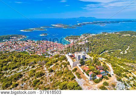 Amazing Town Of Hvar And Napoleon Fortress Aerial View, Dalmatia Archipelago Of Croatia