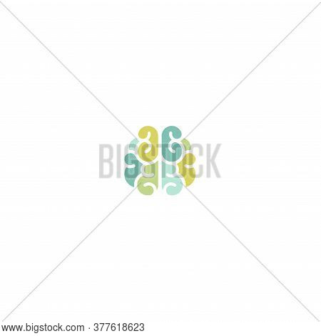 Blue And Green Brain Icon. Intellect, Phsychology, Knowledge Simple Pictogram Isolated On White.