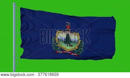 State Flag Of Vermont Waving In The Wind Against Green Screen Background. 3d Illustration