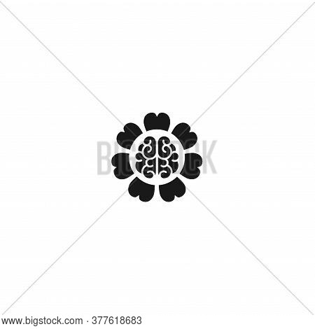 Black Brain Inside Flower Icon. Intellect, Phsychology, Knowledge Simple Pictogram Isolated On White