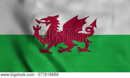 Wales Flag Waving In The Wind. 3d Illustration