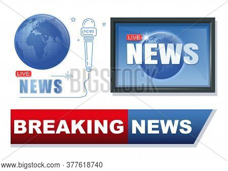 News And Journalism Banner Set. Breaking News Conceptual Logo Design Collection. Latest News Label.