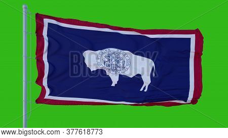 State Flag Of Wyoming Waving In The Wind Against Green Screen Background. 3d Illustration