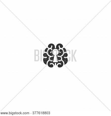 Black Brain With Keyhole Icon. Intellect, Phsychology Secrets Simple Pictogram Isolated On White. Fl