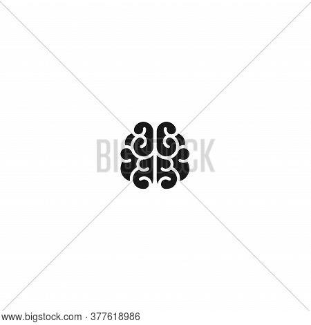 Black Brain Icon. Intellect, Phsychology, Knowledge Simple