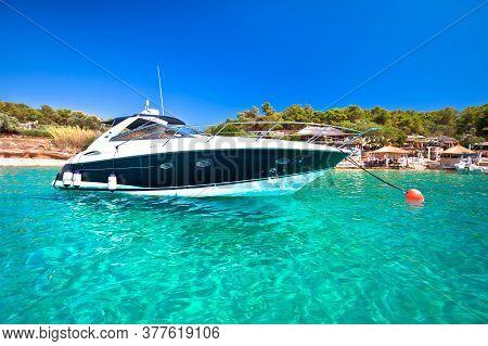 Palmizana Bay On Pakleni Otoci Islands Turquoise Yachting Destination View, Hvar Archipelago Of Croa