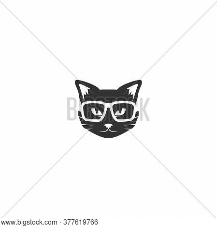 Black Cats Head With Glasses Icon Isolated On White. Tough, Cool Tom Cat With Severe Look.