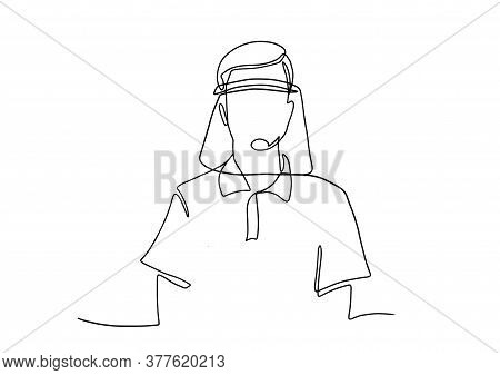 Medical Face Mask Shield. Vector Illustration. Drawing Of A Man Wearing Face Shield Or Protective Ma