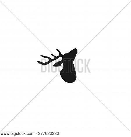Black Graceful Silhouette Of Deer Head With Antlers.