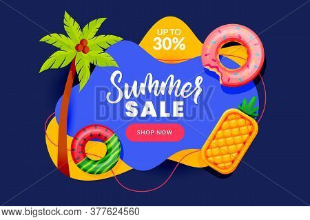 Summer Sale Abstract Banner Design. Inflatable Floating Toys And Palm Tree, Vector Illustration. Sea