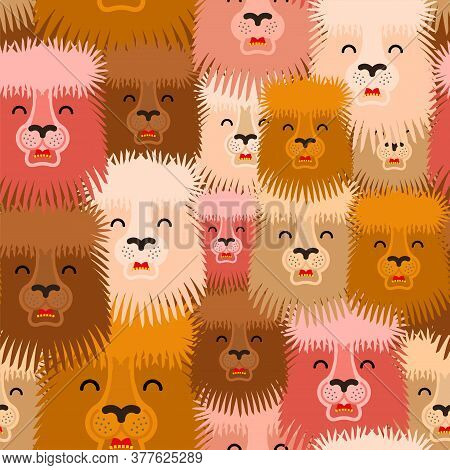 Funny Lama Pattern Seamless. Alpaca Llama Laughs Background. Baby Fabric Ornament