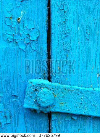 Texture Of Old Painted Shabby Rustic Wooden Fence Made Of Planks, With Rusty Nails, Hand-forged Iron