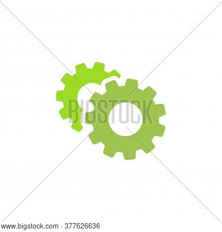 Gears Icon Isolated On White. Combination Of Two Green Pinions One Behind Other. Vector Flat Illustr