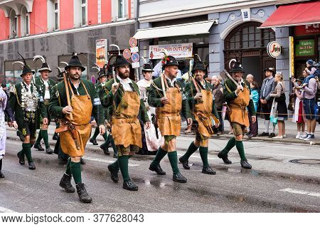 Munich, Germany - September 24, 2018: Walking Procession Of Participants Of The Bavarian Oktoberfest