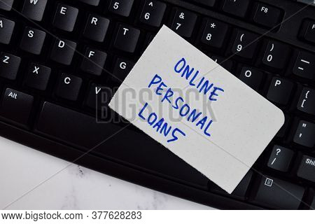 Online Personal Loans Text On Sticky Notes Isolated On Office Desk.