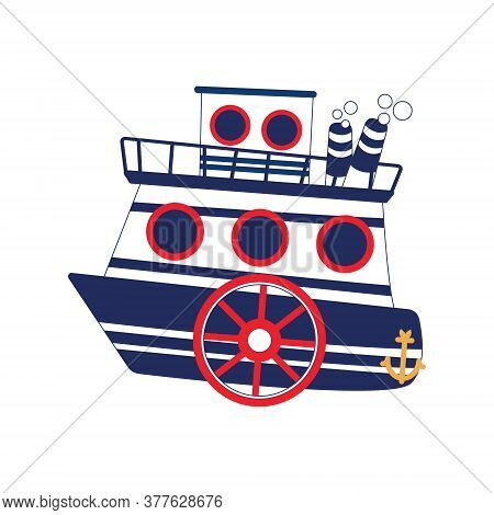 Two-tier Steamboat With Anchor Isolated Vector Object. Blue And Red Sea Colored Illustration.