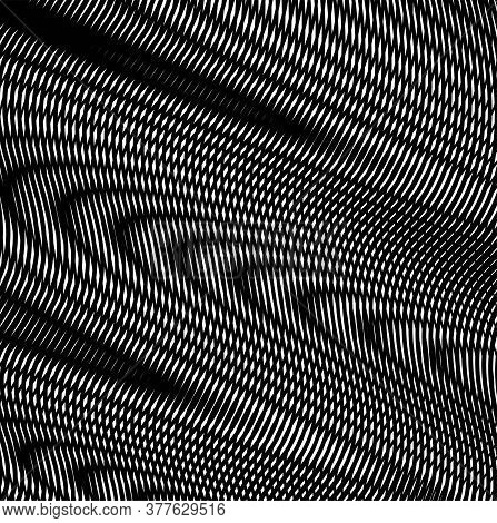 Diagonal Abstract Linear Textured Background With Wavy Stripes Graphic And Moire Effect. Can Be Used
