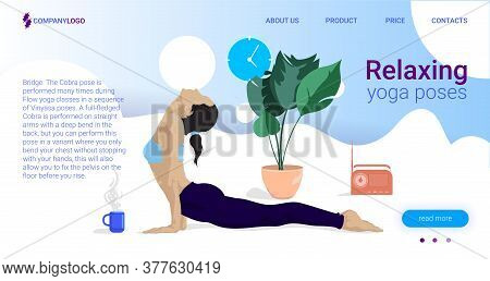 Yoga For Calm Landing Page Vector Template. Stretch Exercises. Healthy Lifestyle. Bodypositive Websi