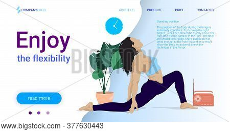 Yoga Class Landing Page Vector Template. Aerobics, Pilates Courses Website Homepage Interface Layout