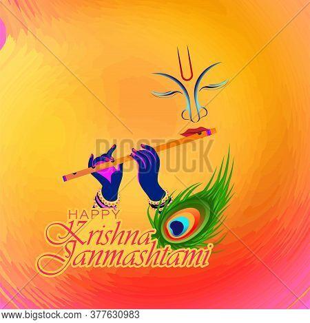 Shri Krishna Janmashtami Means Birthday Of Lord Krishna. Musical Instrument Bansuri And Peacock Feat