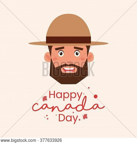 Canada Day Card With A Canadian Mounted Policeman - Vector