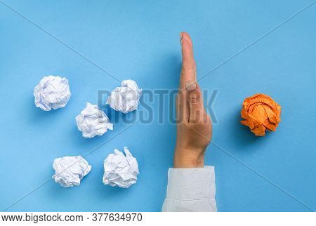 Group Crumpled Pieces Of Paper. Orange One Is The First Place, Leadership, Individuality Concepts