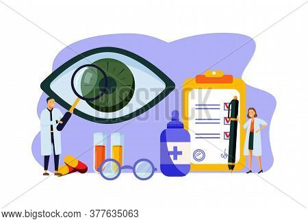 Ophthalmology Vector Illustration. Flat Tiny Eyes Health Persons Concept. Abstract Lens View Examina