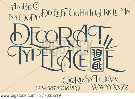 Decorative Serif Font Inspired By The Art Deco Era. It  Represents Vintage Esthetics In A Modern & M